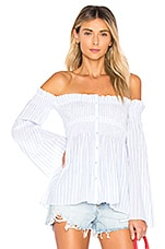 ASTR the Label Shelby Top in White Blue Stripe