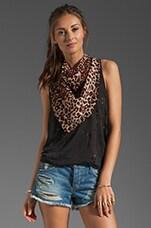 Anna Sui Leopard Silk Chiffon Scarf in Cream Multi
