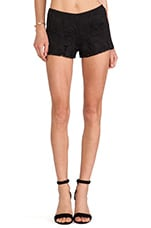 Gold Leaf Lace Shorts in Black
