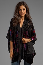 Anna Sui Rose Border Burnout Velvet Open Cardigan in Black Multi