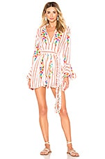 All Things Mochi Marita Romper in White & Red Stripes