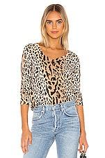 ATM Anthony Thomas Melillo Mixed Leopard Print V Neck Sweater in Camel & Black Combo