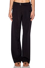 Wide Leg Faille Pant in Black