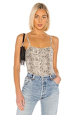 ATM Anthony Thomas Melillo Snake Print Pima Cotton Bodysuit in Haze & Pavement Combo