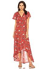 AUGUSTE Valentina Fiesta Wrap Maxi Dress in Red