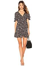 AUGUSTE Edie Cascade Wrap Mini Dress in Black
