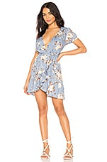AUGUSTE Frill Wrap Mini Dress in Blue Vintage Blooms