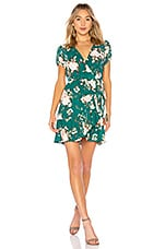 AUGUSTE Frill Wrap Mini Dress in Emerald Vintage Blooms