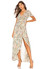 AUGUSTE Spring Rose Wrap Maxi Dress in Natural