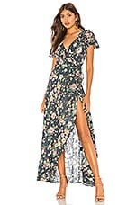 AUGUSTE Spring Rose Wrap Maxi Dress in Navy