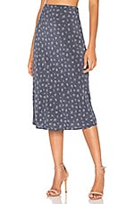 AUGUSTE Jasmine Bias Slip Midi Skirt in Navy