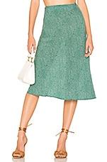 AUGUSTE Diamond Bias Midi Skirt in Green