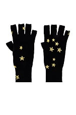 Autumn Cashmere Printed Stars Gloves in Black & Gold