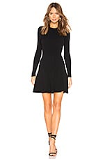 Autumn Cashmere Flare Ribbed Stitch Dress in Black