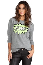 Autumn Cashmere POW Intarsia Boyfriend Crew Sweater in Cement/Day Glo/Black/Winter White