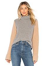 Autumn Cashmere Colorblock Sweater in Cement, Pepper & Cork