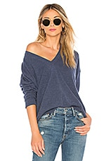 Autumn Cashmere Relaxed V-Neck Sweater in Overalls