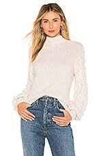 Autumn Cashmere Popcorn Sleeve Sweater in Vanilla