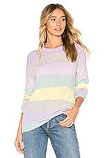 Autumn Cashmere Rainbow Stripe Boyfriend Sweater in Pastel Multi Combo