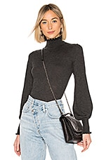Autumn Cashmere Bishop Sleeve Mock Neck Sweater in Charcoal