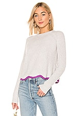 Autumn Cashmere Shaker Crew Neck Sweater in Sleet & Magenta