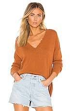 Autumn Cashmere Distressed Edge Sweater in Cinnamon