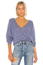 Autumn Cashmere Shaker Stitch Deep Boyfriend V Sweater in Slate Blue