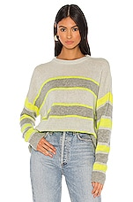 Autumn Cashmere Boxy Stripe Block Crew Sweater in Sleet & Volt & Sweatshirt