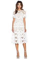 Alexis Benati Crochet Midi Dress in White Crochet