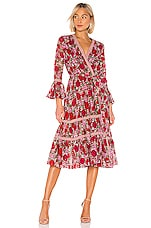 Alexis Marcas Wrap Dress in Fuchsia Bouquet