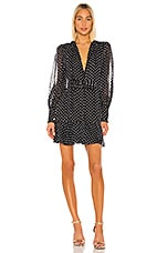 Alexis Ivette Dress in Black Embroidered Dot