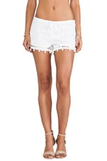 Debi Pom Pom Crochet Shorts in White Crochet