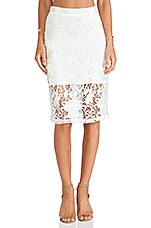 Alexis Larissa Lace Pencil Skirt in White Embroidered Lace