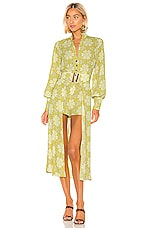 Alexis Derby Romper with Cape in Lime Mosaic