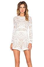 Alexis Garner Lace Fringe Romper in White Lace