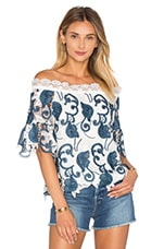 Karol Off the Shoulder Top en Brodé Bleu