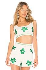Alexis Dai Crop Top in Emerald Brocade