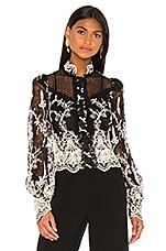 Alexis Boda Top in Black Embroidered Lace