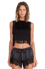 Almere Fringe Crop Top in Black