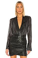 ALIX NYC Reade Metallic Bodysuit in Charcoal Metallic