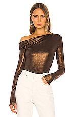 ALIX NYC Willett Metallic Bodysuit in Bronze