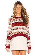 AYNI Nova Sweater in Ivory, Tangerine & Burgundy