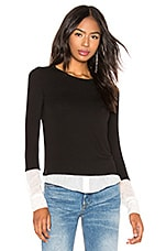 Bailey 44 I'm So Excited Sweater Knit Blouse in Black & Chalk