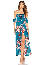 Band of Gypsies Large Floral Lace up Midi in Teal & Peach