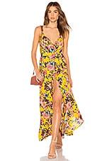 Band of Gypsies Chrysanthemum Wrap Dress in Mustard & Pink