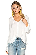 Ruffle Front Peasant Blouse in White
