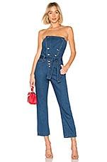 Bardot Blue Jean Bustier Jumpsuit in Indigo