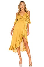 Bardot Bea Wrap Dress in Gold