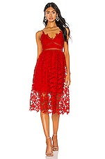 Bardot Sonya Lace Dress in Fire Red