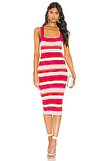 Bardot Multi Stripe Dress in Pink & Red Stripe